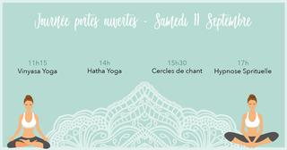 Peut être une image de 2 personnes et texte qui dit 'Journée portes ouvertes- Samedi 11h15 Vinyasa Yoga Septembre 14h Hatha Yoga 15h30 Cercles de chant 17h Hypnose Sprituelle'