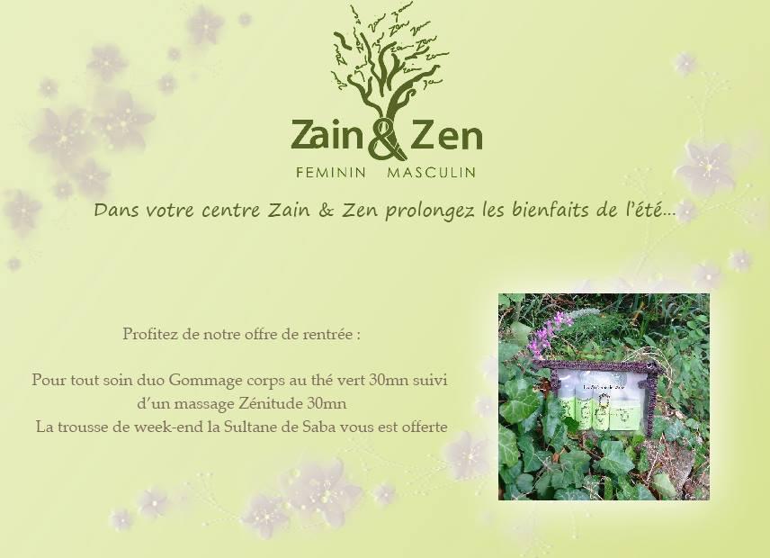 Dans votre centre Zain et Zen prolongez les bienfaits de l'été.....