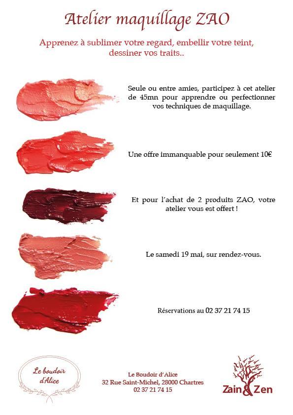 Encore quelques places disponibles pour notre atelier maquillage ZAO qui aura lieu ce samedi ! Réser...