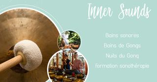 Peut être une image de 2 personnes et texte qui dit 'Inner Sounds Bains sonores Bains de Gongs Nuits du Gong Formation sonothérapie'