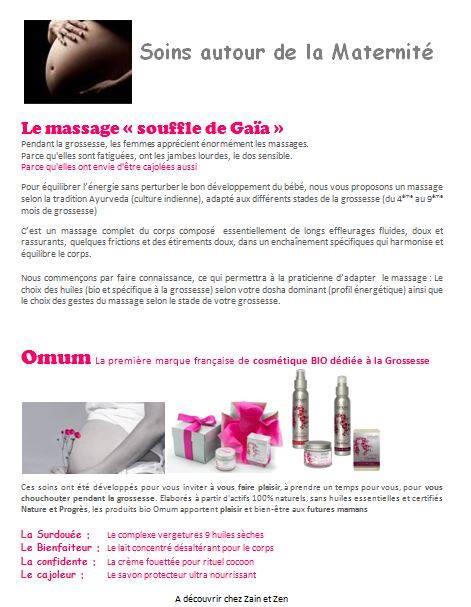 """Nouveau !! Soins autour de la grossesse : massage """"Souffle de gaïa"""" et gamme """"Omum""""..."""