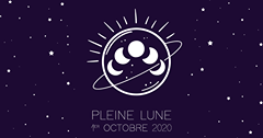 L'image contient peut-être: nuit, texte qui dit 'PLEINE LUNE 1ER OCTOBRE 2020'