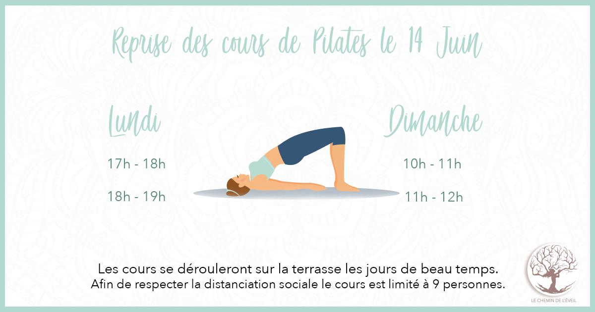 Reprise des cours de Pilates le dimanche 14 Juin  Découvrez le nouveau planning des cours de Pilates...