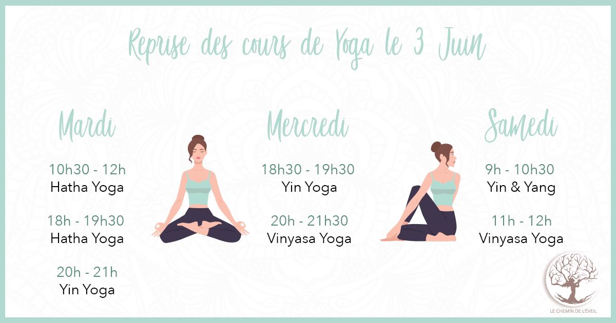 Reprise des cours de Yoga le mercredi 3 Juin...
